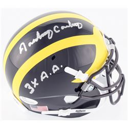 """Anthony Carter Signed Michigan Wolverines Mini Helmet Inscribed """"3x A.A."""" (JSA COA)"""