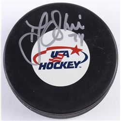 T. J. Oshie Signed USA Logo Hockey Puck (JSA COA)