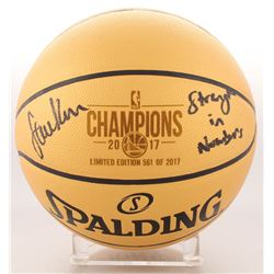 """Steve Kerr Signed LE Warriors 2017 Champions Gold Basketball Inscribed """"Strength in Numbers"""" (Schwar"""