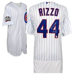 """Anthony Rizzo Signed Cubs 2016 World Series Authentic Jersey Inscribed """"2016 WS Champs"""" (Fanatics Ho"""