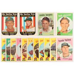 Lot of (15) Pirates 1959 Topps Baseball Cards with #122 Bennie Daniels RS, #432 Smoky Burgess, #134