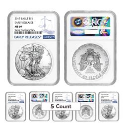 Lot of (5) 2017 1 oz Silver American Eagle $1 Coins - Early Releases (NGC MS 69)