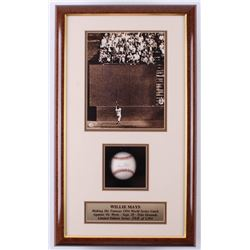 """Willie Mays Signed LE Giants """"The Catch"""" 14x24x4 Custom Framed Shadowbox Baseball Display (Stacks of"""
