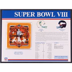 Commemorative Super Bowl VIII Score Card With Patch: Dolphins vs. Vikings