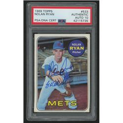 "Nolan Ryan Signed 1969 Topps #533 Inscribed ""8x All Star"" (PSA Encapsulated)"