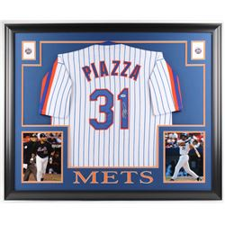 Mike Piazza Signed Mets 35x43 Custom Framed Jersey (PSA COA)