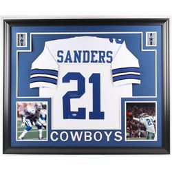 Deion Sanders Signed Cowboys 35x43 Custom Framed Jersey (Beckett COA)