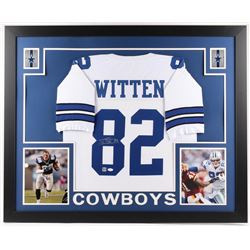 Jason Witten Signed Cowboys 35x43 Custom Framed Jersey (JSA COA  Witten Hologram)