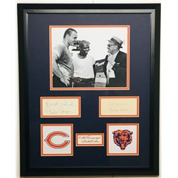 "George Halas, Gale Sayers  Dick Butkus Signed Bears 18x22 Custom Framed Cut Display Inscribed ""Best"