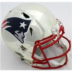 Julian Edelman Signed Patriots Full-Size Chrome Speed Helmet (JSA COA)