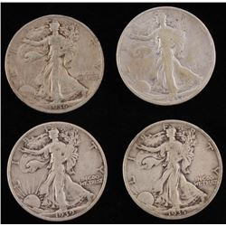 Lot of (4) Walking Liberty Half-Dollars with 1935-S, 1936, 1937,  1939