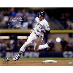 """Christian Yelich Signed Brewers """"Hit For Cycle 9/17/18"""" 16x20 Photo Inscribed """"2018 NL MVP"""" (Steiner"""