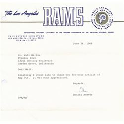 Dan Reeves Signed Original Letter on Rams Letterhead (JSA LOA)