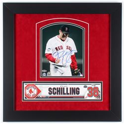 Curt Schilling Signed Red Sox 21.5x21.5 Custom Framed Photo Display with Team Issued Locker Tag (Ste