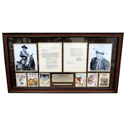 John Wayne Signed 23x43 Custom Framed Contract Display (PSA LOA)