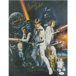 """Star Wars"" 11x14 Photo signed by (5) with Carrie Fisher, Mark Hamill, Peter Mayhew, Kenny Baker  An"