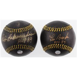 "Lot of (2) Signed Black Leather Baseballs with Red Schoendienst  Lou Brock Inscribed ""HOF 89""  ""HOF"