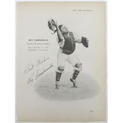 "Roy Campanella  Don Newcombe Signed Dodgers 8x10.5 ""Big Time Baseball"" Page with Inscriptions (PSA A"
