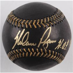 "Nolan Ryan Signed OML Black Leather Baseball Inscribed ""HOF 99"" (AI Verified COA  Ryan Hologram)"