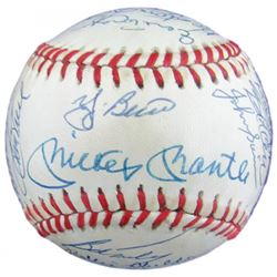 1961 New York Yankees OAL Baseball Team-Signed by (33) with Mickey Mantle, Yogi Berra, Whitey Ford (