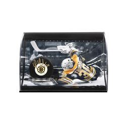 Tim Thomas Signed Bruins Logo Hockey Puck Curve Display (UDA COA)