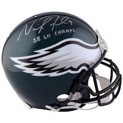 """Nick Foles Signed Eagles Authentic On-Field Speed Full-Size Helmet Inscribed """"SB LII Champs"""" (Fanati"""