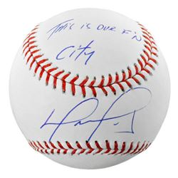"""David Ortiz Signed Baseball Inscribed """"This is Our F'N City"""" (Fanatics Hologram  MLB Hologram)"""