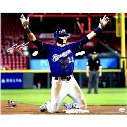 """Christian Yelich Signed Brewers """"Hit For Cycle 8/29/18"""" 16x20 Photo (Steiner Hologram)"""