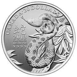 2013 $20 Year of the Snake - Pure Silver Coin. Sold Out.