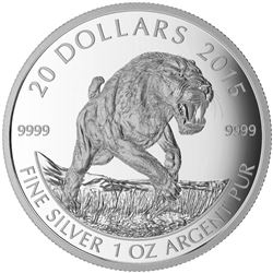 2015 $20 Prehistoric Animals: American Scimitar Sabre-Tooth Cat - Pure Silver Coin