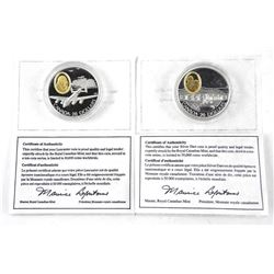 Lot (5) 925 Silver $20.00 Coins with 24kt Gold Plated Cameo, 'The Lancaster' and 'The Silver Dart' w