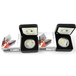 Lot (2) 925 Sterling Silver $25.00 Coins - 2010 Olympic Games 'Alpine Skiing and Biathlon' LE/C.O.A.