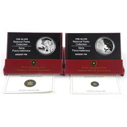 Lot (2) .9999 Fine Silver $20.00 Coins 2005 and 2006 National Parks Collection. LE/C.O.A .(IR)