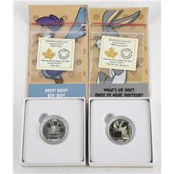 Lot (2) .9999 Fine Silver $10.00 Coins 'Looney Tunes' (ER)