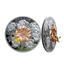 2019 .9999 Fine Silver $50.00 Coin 'The Bumble Bee and the Bloom' 5oz Fine, Moving Bee. (SIR) Sealed