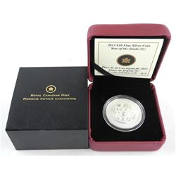 2013 .9999 Fine Silver $10.00 Coin 'Year of the Snake' Chinese. (123958) (KK)