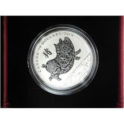 2019 .9999 Fine Silver lunar $10.00 Year of the Pig Coin. LE/C.O.A.