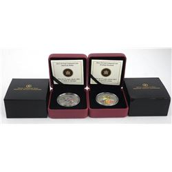 Lot (2) 2012-2013 25 Cent Coins, Coloured Coin 'Evening Grosbeak' 'American Robin' LE/C.O.A.