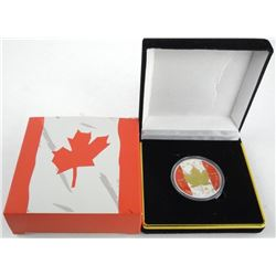 2014 'Patriotic Maple' Canada $5.00 Coin, .9999 Fine Silver 1oz ASW LE/500 (SIE) Finish 24kt Gold Ov