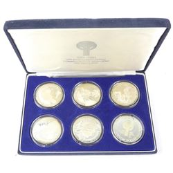 1781-1981 Los Angeles Medallions, 926 Sterling Silver 6 Capsules. Original Case