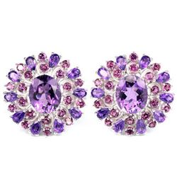 NATURAL 12X10 MM. PURPLE AMETHYST & RHODOLITE GARNET