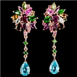 NATURAL TOPAZ CHROME DIOPSIDE & TOURMALINE Earrings