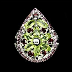Natural Top Rich Green Peridot Rhodolite Garnet Ring