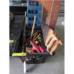 Tote Containing Saws, Files, Hammers & More