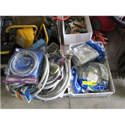 2 Boxes of New Hoses, Electric Plugs & More