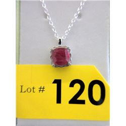 Sterling Silver Ruby & Diamond Pendant with Chain