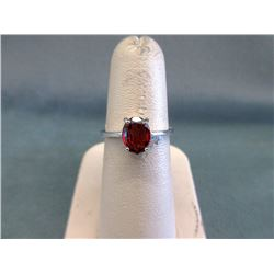Oval Red Garnet & Sterling Silver Solitaire Ring