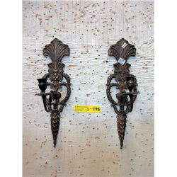 "Pair of 17"" Tall Vintage Brass Wall Sconces"