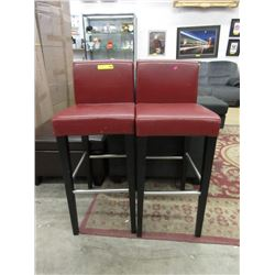 "Two 30""  Red Faux Leather Stools"