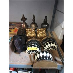 Finials, Wall Sconces & Pair of Bookends.